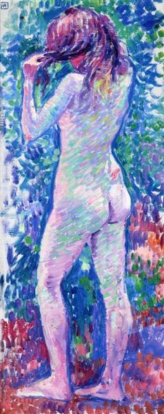 Nude from Behind, Fixing Her Hair - Theo van Rysselberghe