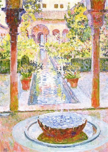 The Gardens of Generalife in Grenada, 1913 - Theo van Rysselberghe