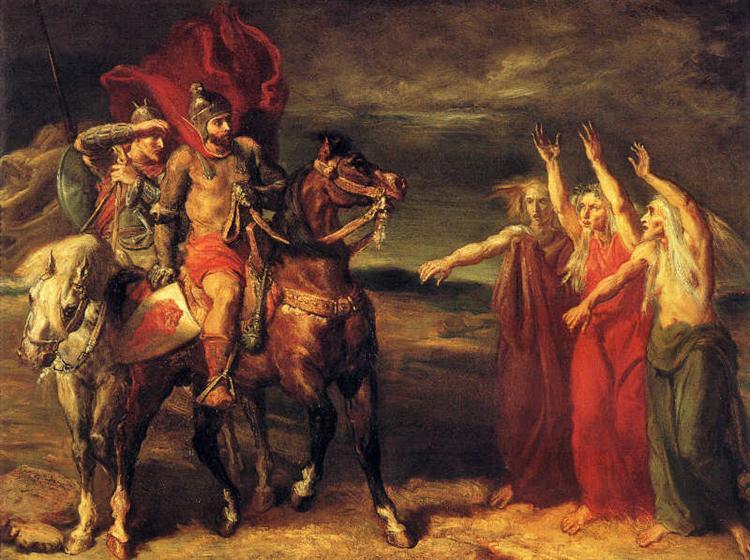 Macbeth suivi de Banco rencontre les trois sorcières sur la Lande, 1855 - Theodore Chasseriau