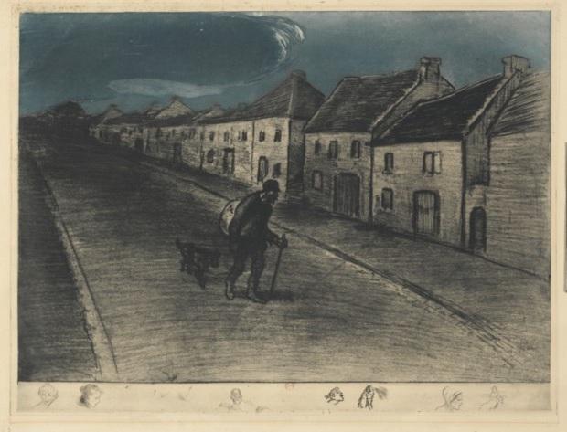 Chemineau Traversant Un Village Endormi - Theophile Steinlen