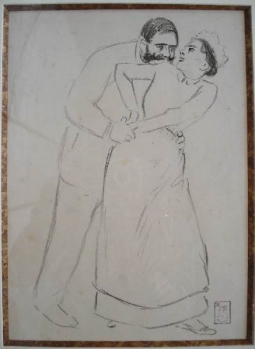 Eugenie Preliminary drawing - Theophile Steinlen