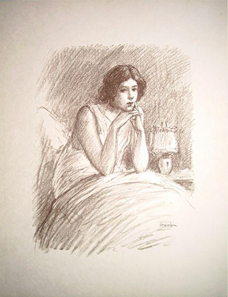 Girl in a big bed - Theophile Steinlen