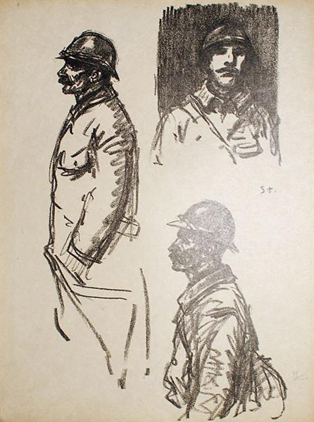 Soldats- Trois Croquis, 1916 - Theophile Steinlen