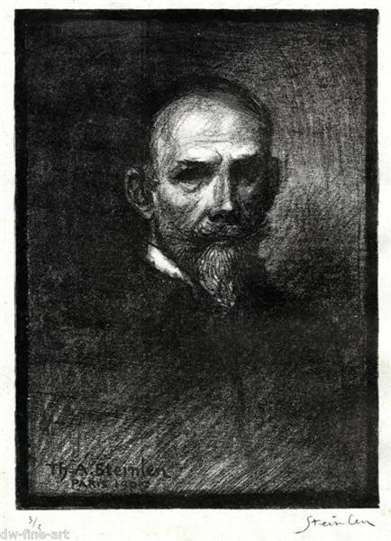 Steinlen de Face Tete Droite, 1905 - Theophile Steinlen