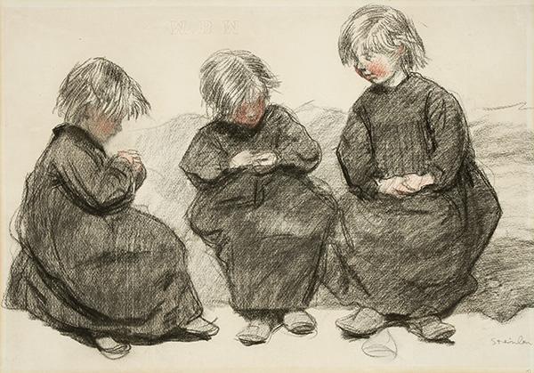 Three Seated Girls - Theophile Steinlen