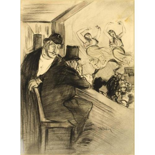 Two Men at Theatre - Theophile Steinlen