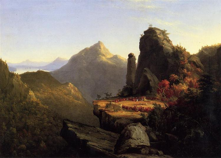 Scene from The Last of the Mohicans Cora Kneeling at the Feet of Tanemund, 1827 - Thomas Cole