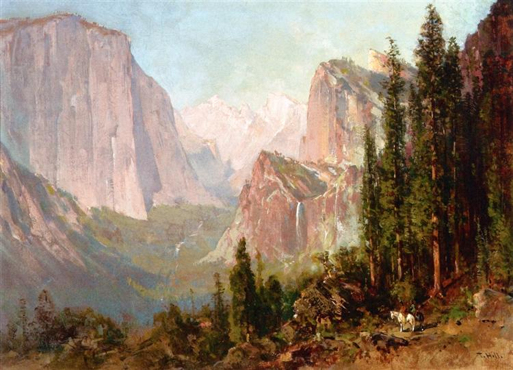 Scene of Yosemite. Bridalveil Fall - Thomas Hill