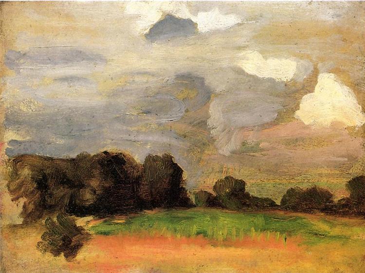 Landscape with grey sky, 1900 - Томас Поллок Аншутц