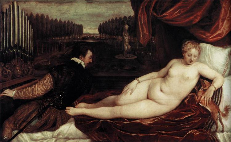 Venus and an Organist and a Little Dog, c.1550 - Titian