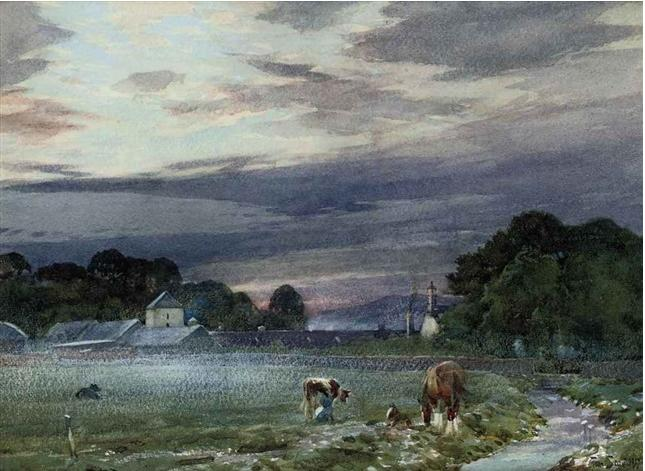View of Philiphaugh Farm, Selkirk at dawn, 1917 - Tom Scott