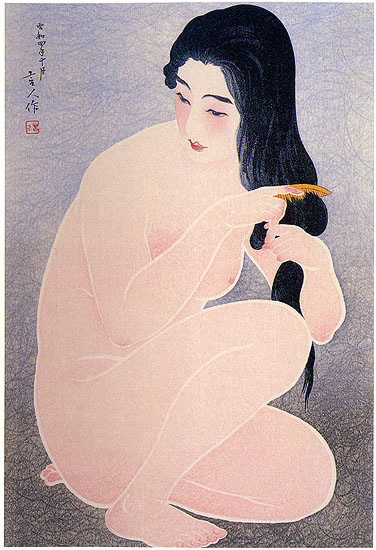 Combing in the Bath (variant), 1929 - Torii Kotondo