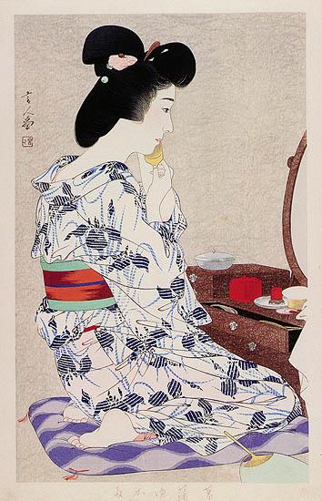 In a Light Summer Kimono with Irises, 1933 - Torii Kotondo
