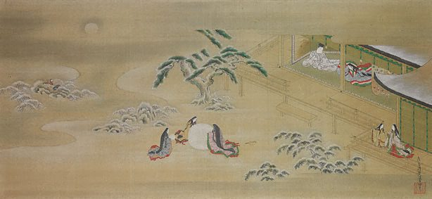 Illustration of the Genji Monogatari (Asagao, The Blue Bell) - Tosa Mitsuoki