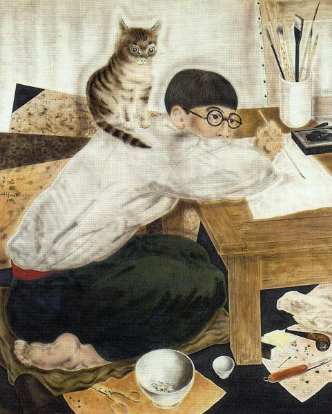 Autoportrait dans l'atelier - Цуґухару Фудзіта