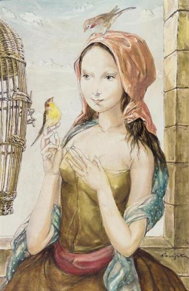 Jeune fille à la cage aux oiseaux - Tsuguharu Foujita