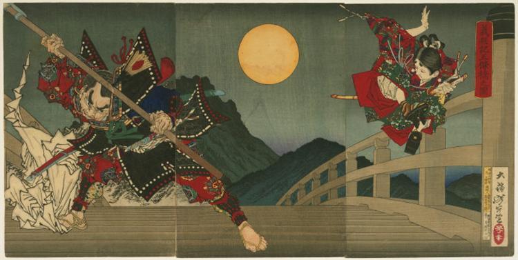 Усівака і Бенкей б'ються на мосту Годзьо - Цукуока Йосітосі
