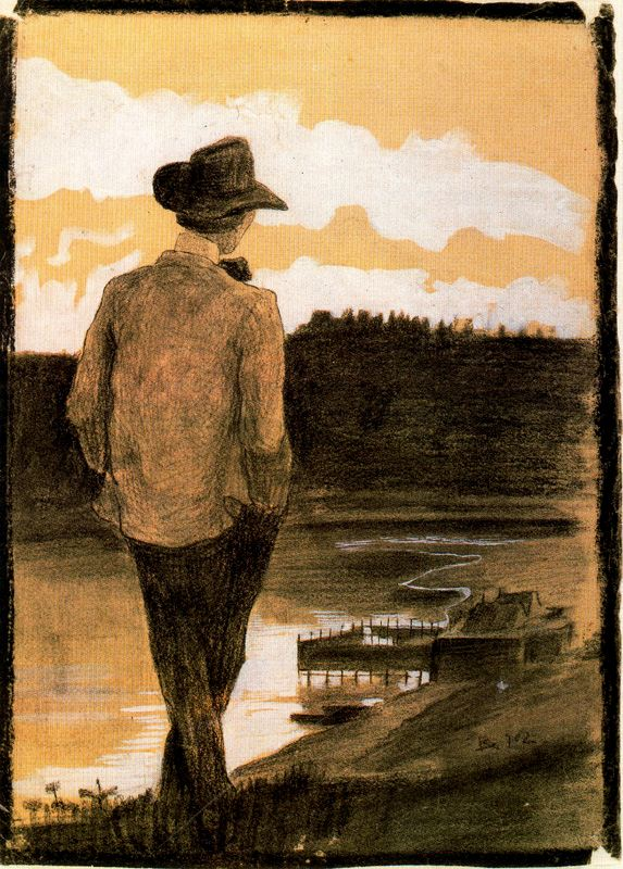 young man on a riverbank 1902 umberto boccioni