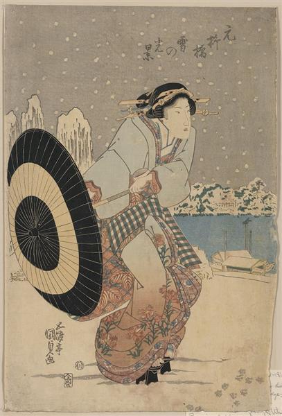 Night snow scene at Motonoyanagi Bridge, c.1825 - Utagawa Kunisada