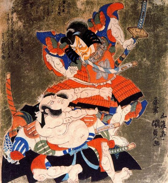 Ichikawa Danjuro VII and Bando  Mitsugoro III as Soga no Goro and  Asaina no Saburo, 1827 - Utagawa Kunisada