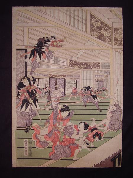 Ronins attack on the house of lord Kira (left panel of a triptych) - Утагава Кунисада
