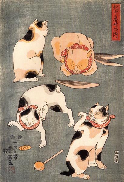 Four cats in different poses - Utagawa Kuniyoshi