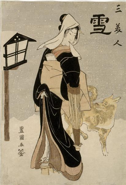 Three Beauties: Snow, c.1810 - Utagawa Toyokuni