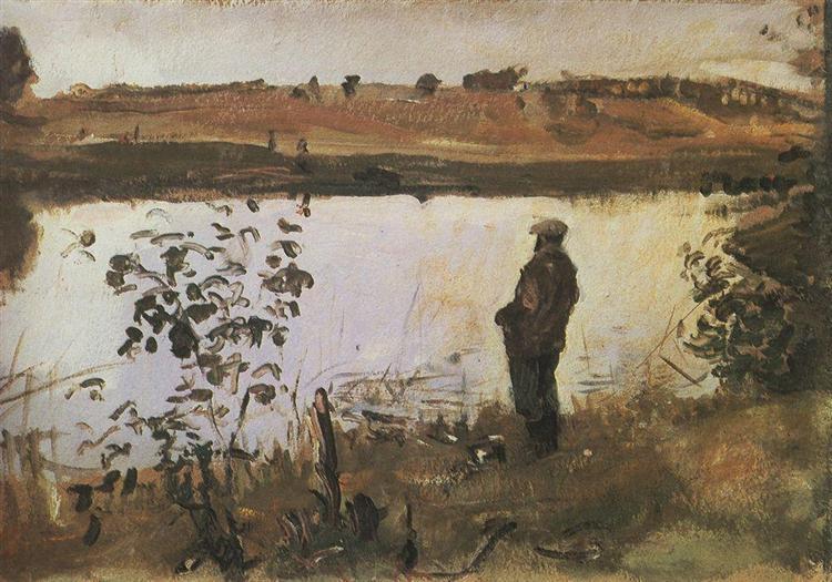 Artist K. Korovin on the river bank, 1905 - Valentin Serov
