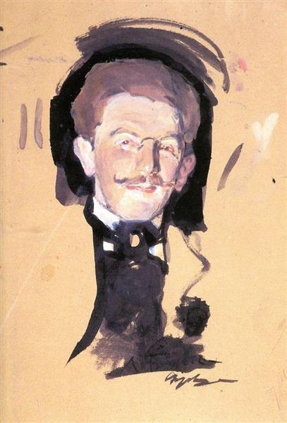 Portrait of Leo Bakst - Valentin Serov