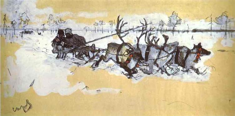 Tundra. Travelling by Deer, 1896 - Valentin Serov