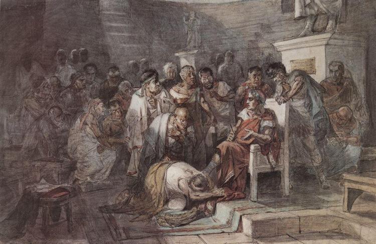 Assassination of Julius Caesar, c.1875 - Vasily Surikov