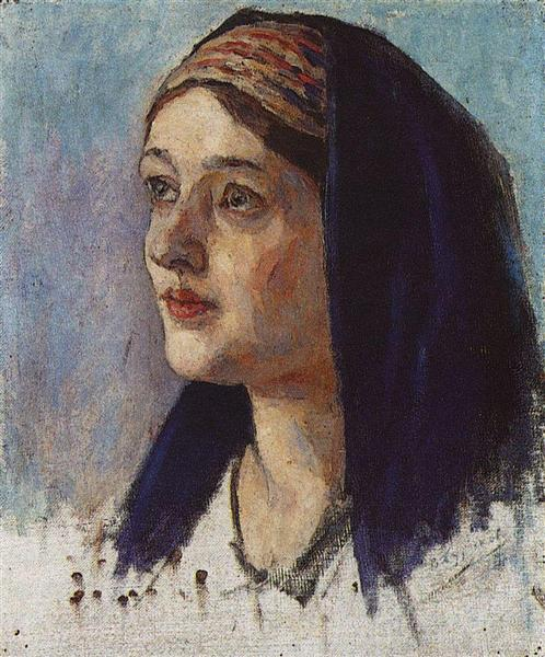 Maria's head, c.1914 - Vasily Surikov