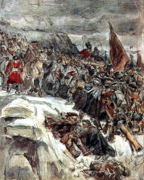 Russian Troops under Suvorov Crossing the Alps (study), 1898 - Vasily Surikov