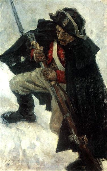 Soldier with gun, 1898 - Vasily Surikov