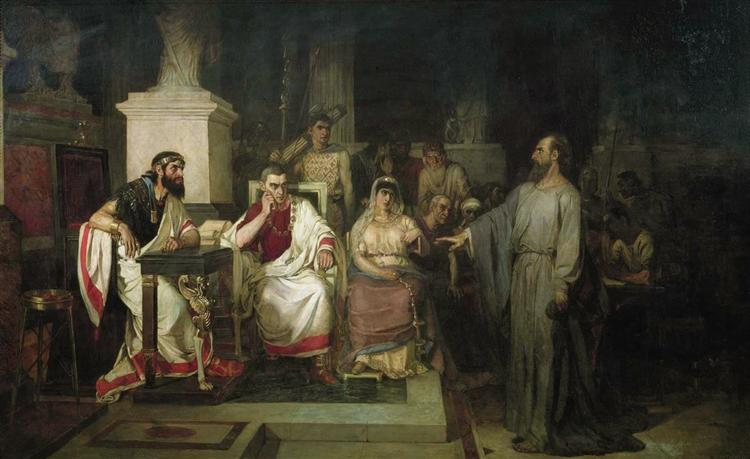 The Apostle Paul explains the tenets of faith in the presence of King Agrippa, his sister Berenice, and the proconsul Festus, 1875 - Vasily Surikov