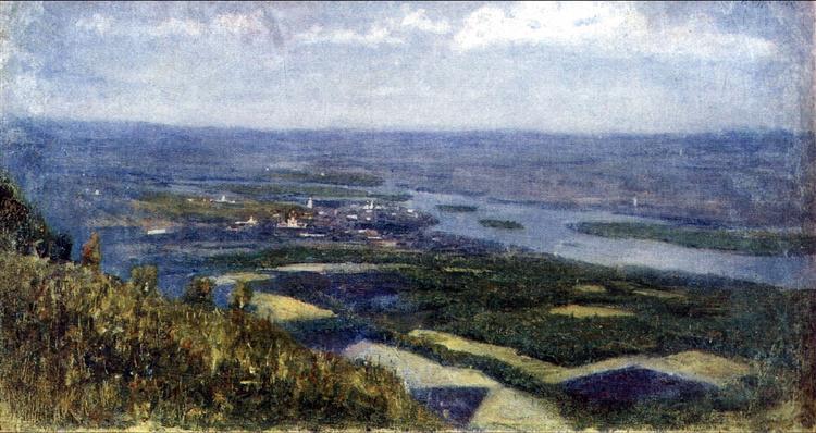 View of Krasnoyarsk from knoll, c.1892 - Vasily Surikov