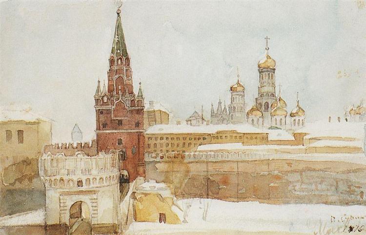 View of Kremlin at winter, 1876 - Vasily Surikov