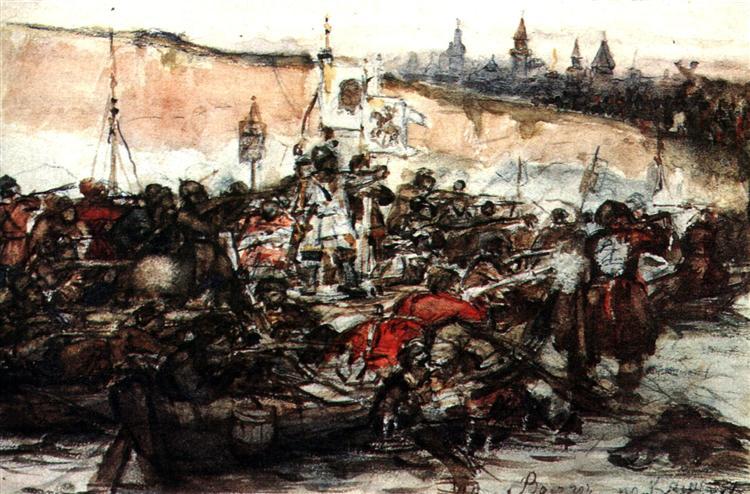 Yermak's conquest of Siberia (study), 1891 - Vasily Surikov