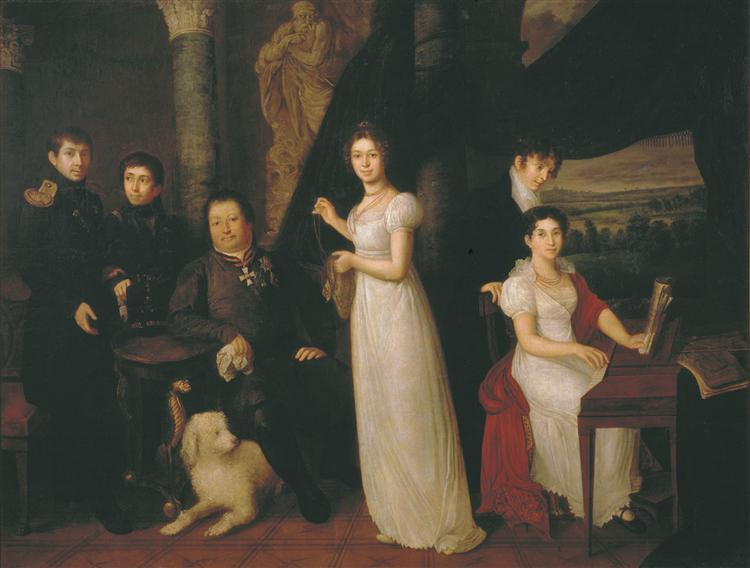 Family portrait of counts Morkovs, 1813 - Vassili Tropinine
