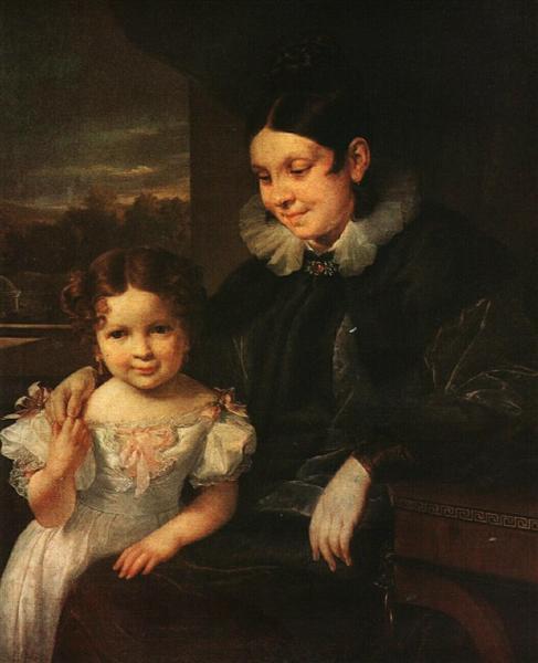 Portrait of V. I. Yershova with Her Daughter, 1831 - Vasily Tropinin