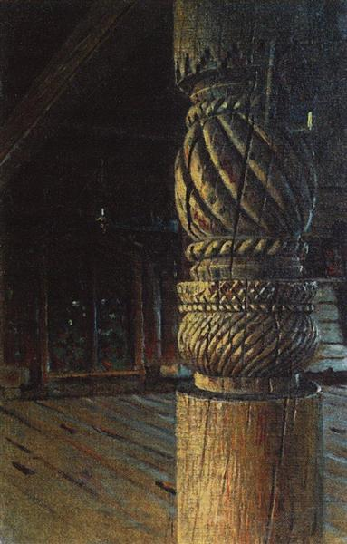 Carved pillar in the refectory of the Petropavlovsk church in the village Puchugi in Vologda province, 1894 - Vasily Vereshchagin