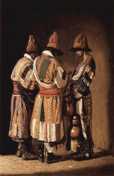 Dervishes in holiday costumes. Tashkent, 1869 - 1870 - Vasily Vereshchagin