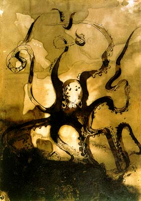 Octopus with the initials V.H. - Victor Hugo