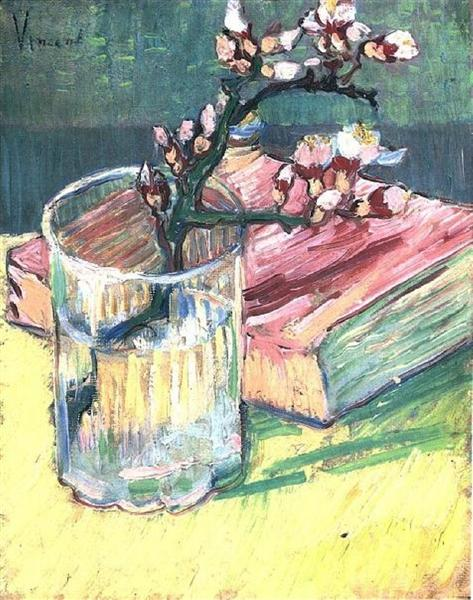 Blossoming Almond Branch in a Glass with a Book, 1888 - Vincent van Gogh
