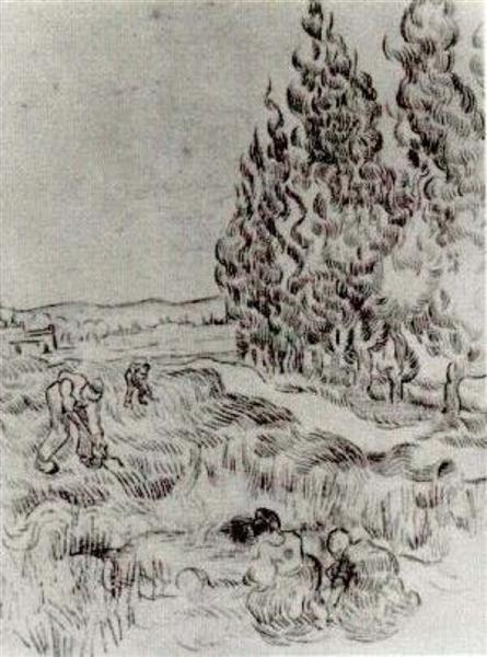 Cypresses with Four People Working in the Field, 1890 - Vincent van Gogh