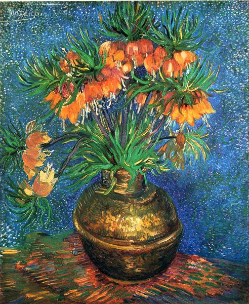 Fritillaries In A Copper Vase 1887 Vincent Van Gogh Wikiart Org