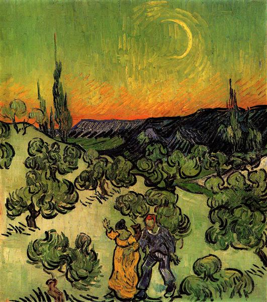 Landscape with Couple Walking and Crescent Moon, 1890 - Vincent van Gogh