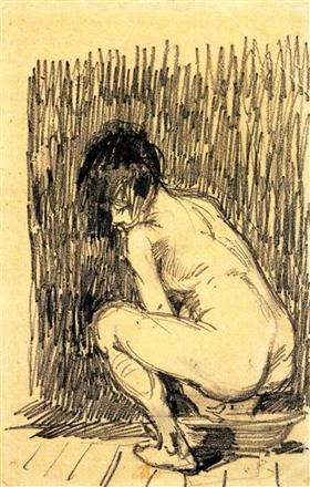 Mujer desnuda en cuclillas sobre una cuenca, Vincent van Gogh