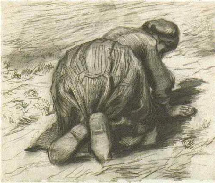 Peasant Woman Stooping and Gleaning by Vincent Van Gogh - 1341