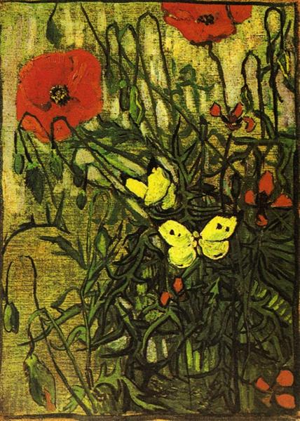 Poppies and Butterflies - van Gogh Vincent